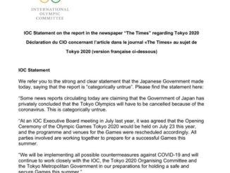 Опровержение МОК the times об отмене олимпийских игр